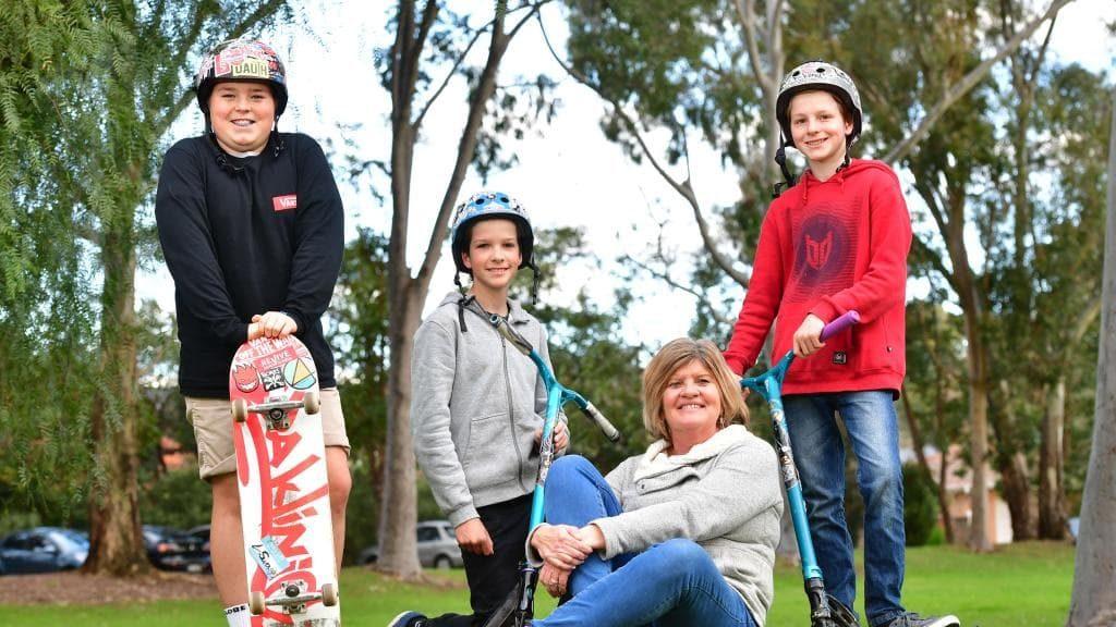 Skateboard fans Luke Swann, Max Vukan, Cathy Leske and Jimi Hastwell are big supporters of a wheel park in Burnside. Picture: AAP/Keryn Stevens.Source:News Corp Australia
